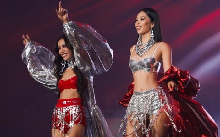 Hoa hậu Tiểu Vy cùng siêu mẫu Minh Tú on stage xuất hiện như nữ thần, biến sân khấu Rap Việt thành sàn diễn catwalk