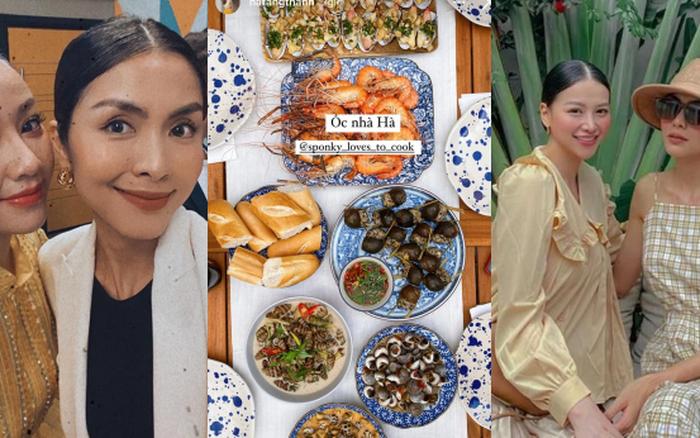 Tiệc cuối tuần giới nhà giàu: Hà Tăng nấu cả bàn ốc như nhà hàng, Băng Di - Linh Rin đến Hoa hậu trái đất thi nhau xuýt xoa - tống đông khuê