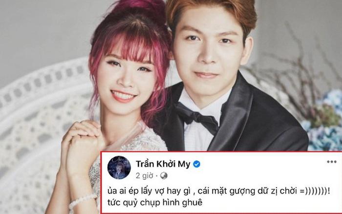 """Khởi My xem lại ảnh cưới mà phát tức vì Kelvin Khánh biểu cảm """"gượng cười"""" như bị ai ép lấy vợ ý!"""