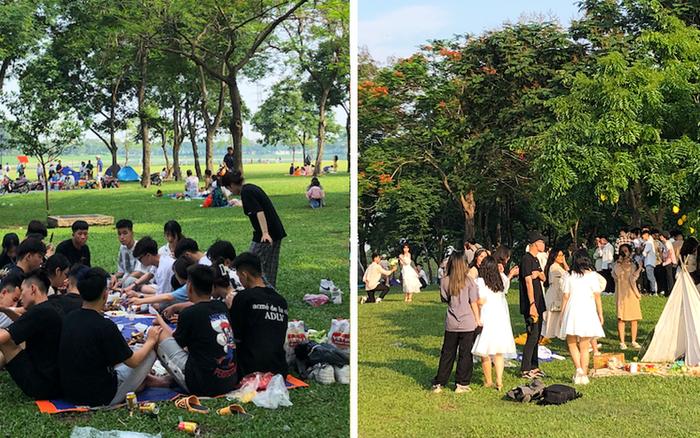 Hà Nội trời đẹp, dân tình đổ về công viên Yên Sở camping và dã ngoại trong ngày đầu nghỉ lễ