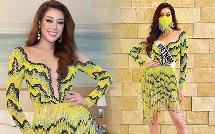 """Khánh Vân gây sốt với outfit ruộng bậc thang, khẩu trang cực độc """"bùng nổ"""" visual tại Miss Universe"""