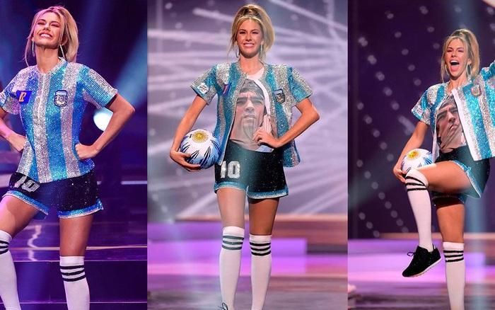 Hoa hậu Argentina gây xúc động mạnh bằng màn tri ân huyền thoại Diego Maradona tại Miss Universe 2020