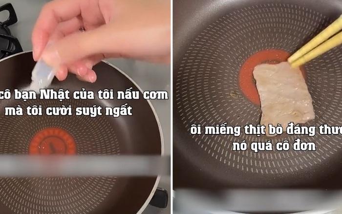 Bữa tối chỉ dùng 1 giọt dầu và 1 miếng thịt của cô gái Nhật khiến ai cũng ngạc nhiên: Tiết kiệm đỉnh cao đến mức này sao?
