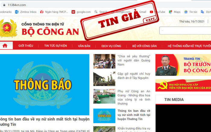 Lập website giả mạo Cổng thông tin điện tử Bộ công an để lừa đảo