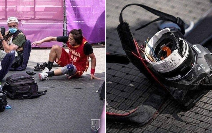 VĐV bóng rổ Olympic lao vào khu vực phóng viên để cứu bóng, ngờ đâu đánh bay 350 triệu trong giây lát